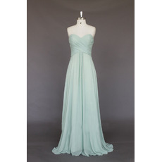 Women's Modest Elegant Sweetheart Sleeveless Long Chiffon Bridesmaid Dress