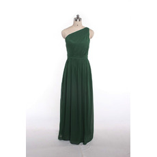 2018 Summer One Shoulder Long Green Beach Chiffon Bridesmaid Dress