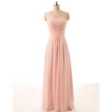 Women's Best One Shoulder Long Chiffon Pink Pleated Bridesmaid Dress