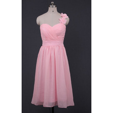 Modest One Shoulder Sweetheart Short Pink Chiffon Bridesmaid Dress