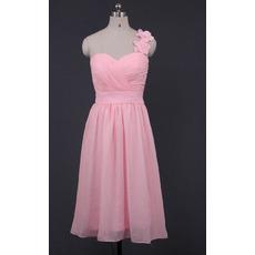 Modest One Shoulder Sweetheart Short Pink Chiffon Bridesmaid Dress