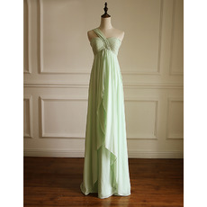 Custom Charming Empire One Shoulder Long Chiffon Bridesmaid Dress