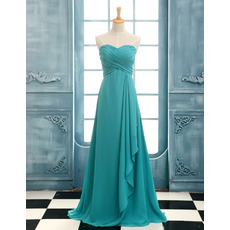 Affordable Beautiful A-Line Sweetheart Long Chiffon Bridesmaid Dress