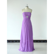 Vintage Simple Strapless Floor Length Chiffon Bridesmaid/ Wedding Party Dress