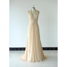 2018 Simple Halter V-Neck Floor Length Chiffon Bridesmaid Dress