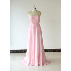 Inexpensive Cutsom Strapless Floor Length Chiffon Pleated Bridesmaid Dress
