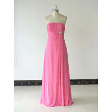 Custom Cheap Strapless Long Chiffon Bridesmaid/ Wedding Party Dress