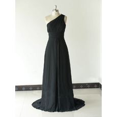 Inexpensive Classy One Shoulder Long Chiffon Black Bridesmaid Dress
