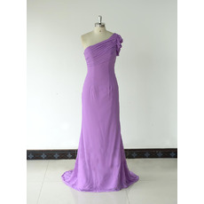Custom Cheap Sheath One Shoulder Floor Length Chiffon Bridesmaid Dress