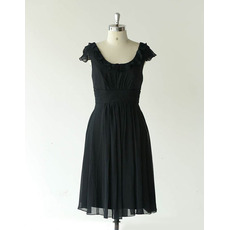 Affordable Cap Sleeves Knee Length Chiffon Black Bridesmaid Dress