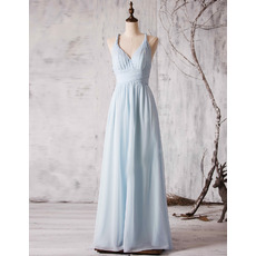 Modest Spaghetti Straps V-Neck Long Chiffon Bridesmaid Wedding Dress