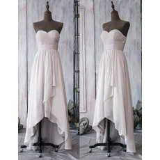 Custom Designer Sweetheart High-Low Asymmetric Chiffon Bridesmaid Dress