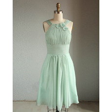 Classy Designer Straps Knee Length Short Chiffon Bridesmaid Dress