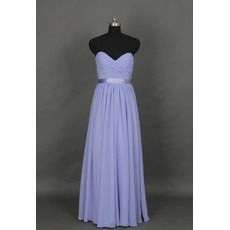 Inexpensive Simple Sweetheart Sleeveless Floor Length Chiffon Bridesmaid Dress