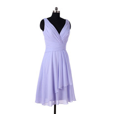 Simple Vintage V-Neck Knee Length Chiffon Bridesmaid/ Wedding Party Dress