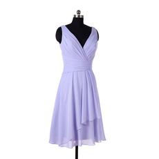 Simple Vintage V-Neck Knee Length Chiffon Bridesmaid/ Wedding Party Dress