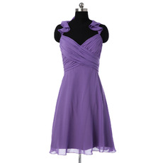 Classic Halter Sweetheart Mini/ Short Chiffon Bridesmaid Dress