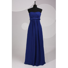 Custom Simple Strapless Floor Length Blue Chiffon Bridesmaid Dress with Belts