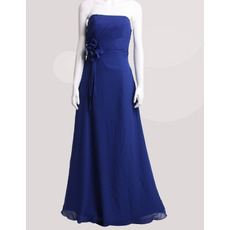 Affordable Custom Strapless Floor Length Chiffon Floral Bridesmaid Dress