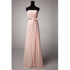 Modest Strapless Floor Length Chiffon Bridesmaid Dress with Bows