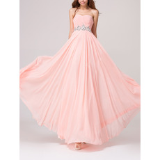 Simple Romantic Empire Waist Sweetheart Long Chiffon Bridesmaid Dress