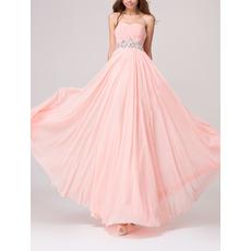 Simple Romantic Empire Waist Sweetheart Long Chiffon Bridesmaid Dress