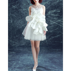 Girls Beautiful Short White Organza Cocktail Dress with Hand Made Flowers