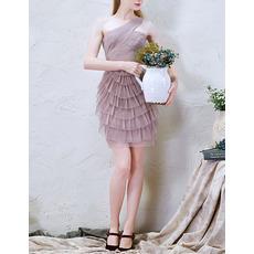 Affordable Girls Cute One Shoulder Short Tulle Layered Skirt Cocktail Dress