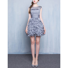 Beautiful Casual Sleeveless Short Chiffon Ruffled Skirt Cocktail Dress