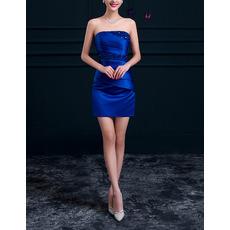 Custom Modern Column Strapless Sleeveless Short Blue Satin Beaded Cocktail Dress