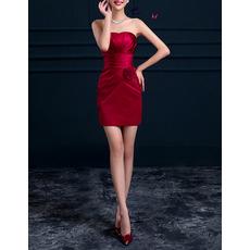 Discount Modern Column Strapless Sleeveless Red Short Satin Cocktail Dress