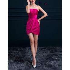 Women Classic Column Strapless Sleeveless Short Satin Ruched Cocktail Dress