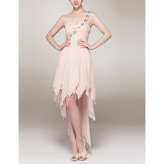 2018 Modern One Shoulder High-Low Chiffon Asymmetric Prom Cocktail Dress