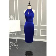 Affordable Sexy Column Halter Knee Length Satin Cocktail Dress