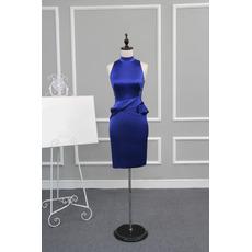 Women's Tight Column Mandarin Collar Sleeveless Short Satin Cocktail Dress