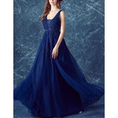 Beautiful Elegant V-Neck Floor Length Blue Organza Formal Evening Dress