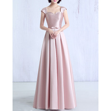 2018 Womens Modest Sweetheart Cap Sleeves Long Satin Prom Evening Dress