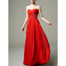 Simple Classy Sweetheart Floor Length Red Chiffon Prom Evening Dress