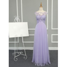 Women Simple Sheath Empire Waist Long Chiffon Tulle Prom Evening Dress