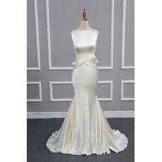 Stylish Elegant Sheath Sleeveless Sweep Train Satin Evening/ Prom/ Formal Dress