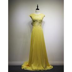 Custom Plus Size Chapel Train Chiffon Formal Evening Wear Dress for Women