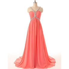 Classic Empire V-Neck Floor Length Chiffon Formal Evening Wear Dress