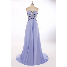 Custom Elegant Sweetheart Sweep Train Long Chiffon Prom Evening Dress