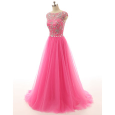 Discount Designer A-Line Sweep Train Long Prom Evening Wear Dress