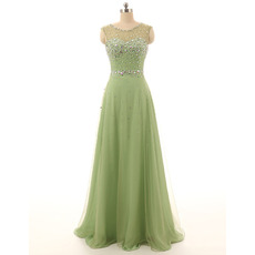 Affordable Modest Sleeveless Long Chiffon Evening Dress with Sequins for Women