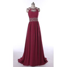 Custom Designer Sweep Train Long Chiffon Prom Evening Wear Dress