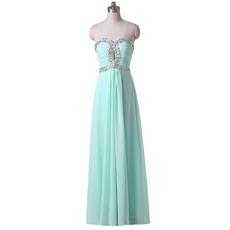 Custom Modest Sweetheart Long Chiffon Prom Evening Dress for Women