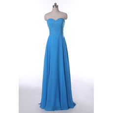 Modest Sweetheart Floor Length Chiffon Beaded Bodice Evening Dress for Women