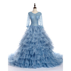Beautiful Ball Gown Layered Skirt Beaded Quinceanera Dress with Long Sleeves