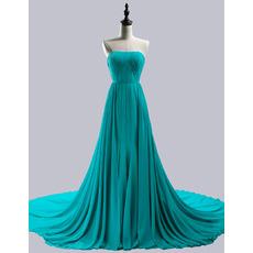 Beautiful Simple Strapless Chapel Train Chiffon Prom Evening Dress